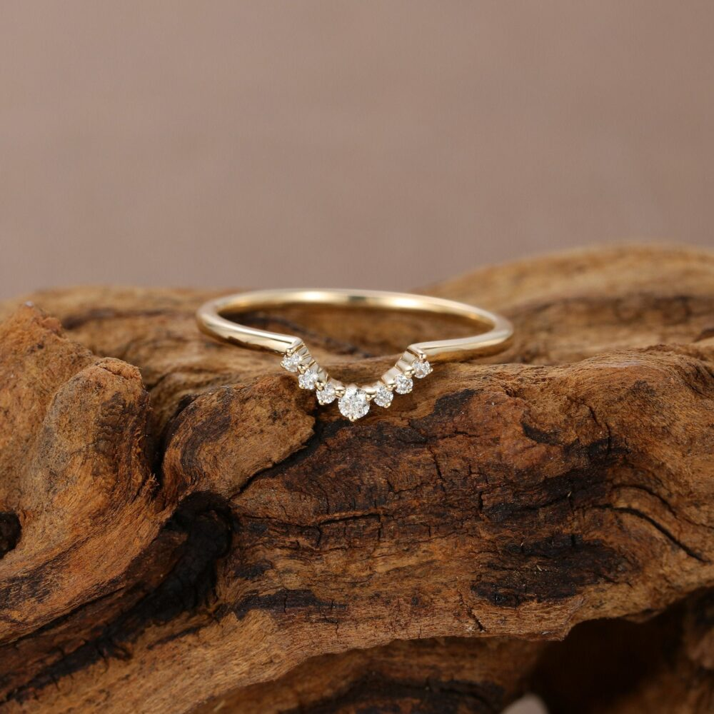 Curved Wedding Band Women Rose Gold Diamond Ring Vintage Thin Dainty Bridal Delicate Stacking Matching Promise Gift For Her Custom
