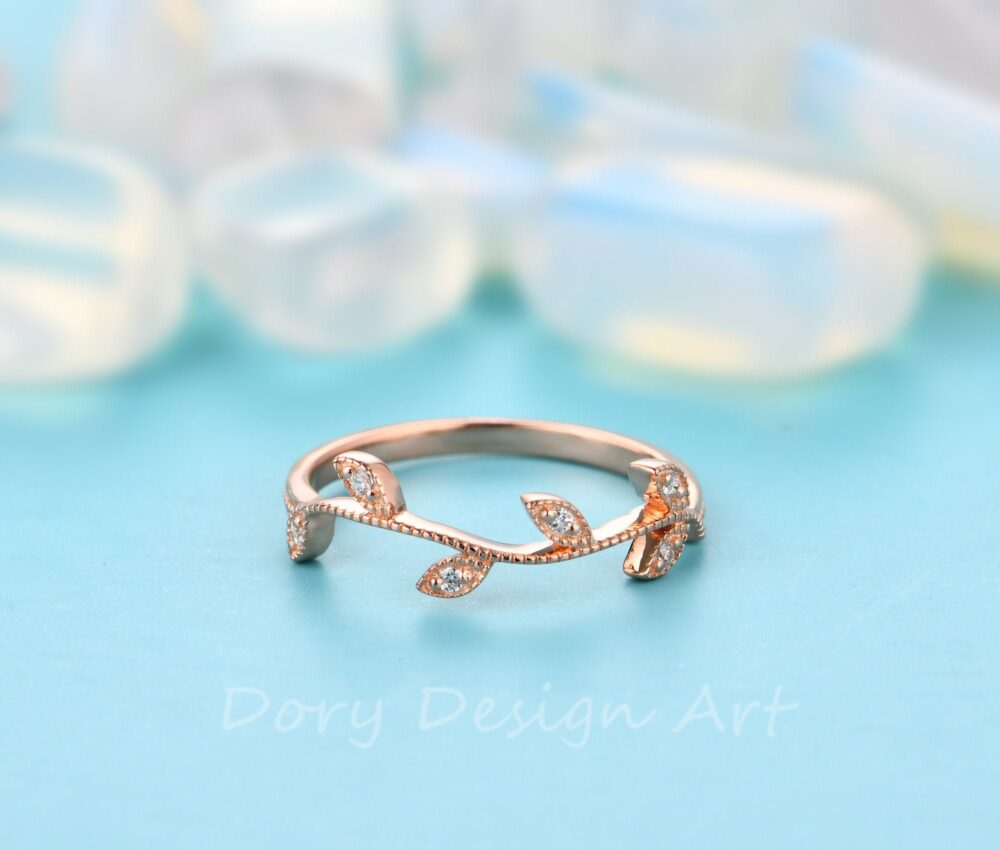 Leaf Moissanite Wedding Band, 14K Rose Gold Bridal Ring, Matching Band Promise Anniversary Gift For Her