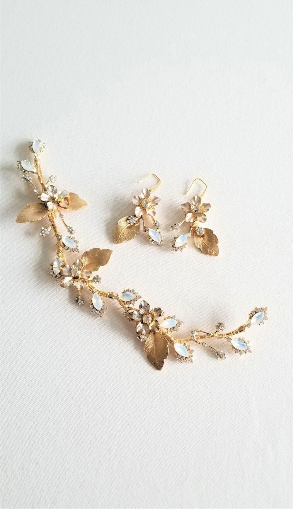 Gold Wedding Headpiece Earring Set, White Opal Crystals With Leaves, Bridal & Earrings