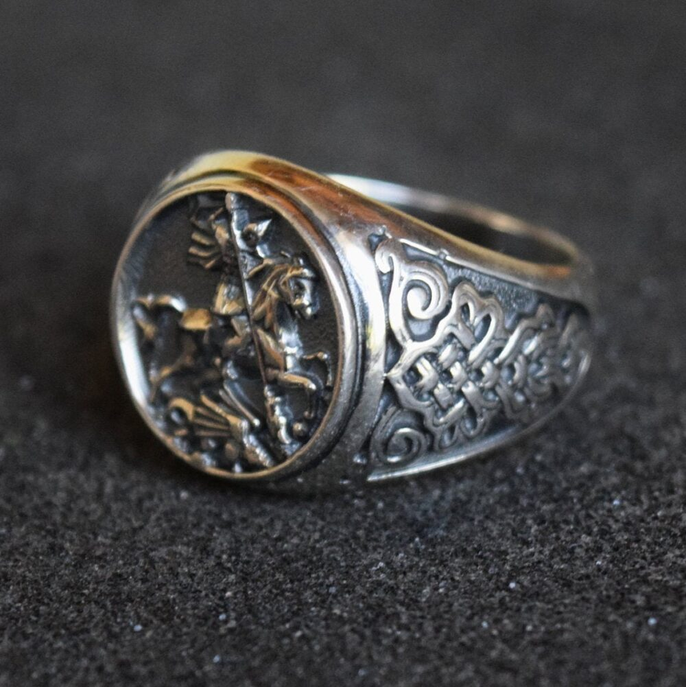 Christian Ring, Archangel Saint Michael Silver Sovereign Religious Men's Jewelry