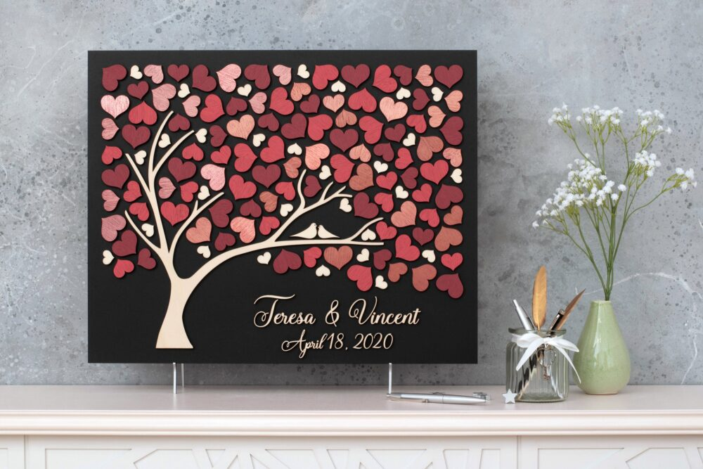 3D Rose Gold Wedding Guest Book Alternative Tree Wood Custom Unique Hearts Leaves Rustic Wedding Wooden Tree Of Life