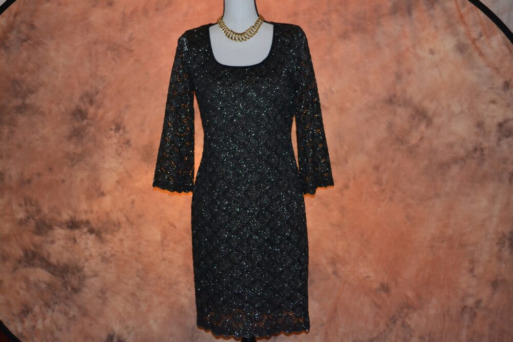 Vintage 90S Party Dress Women's Sparkle Crochet Bell Sleeves Scalloped Edges Silver & Black Club Cocktail Dance lbd