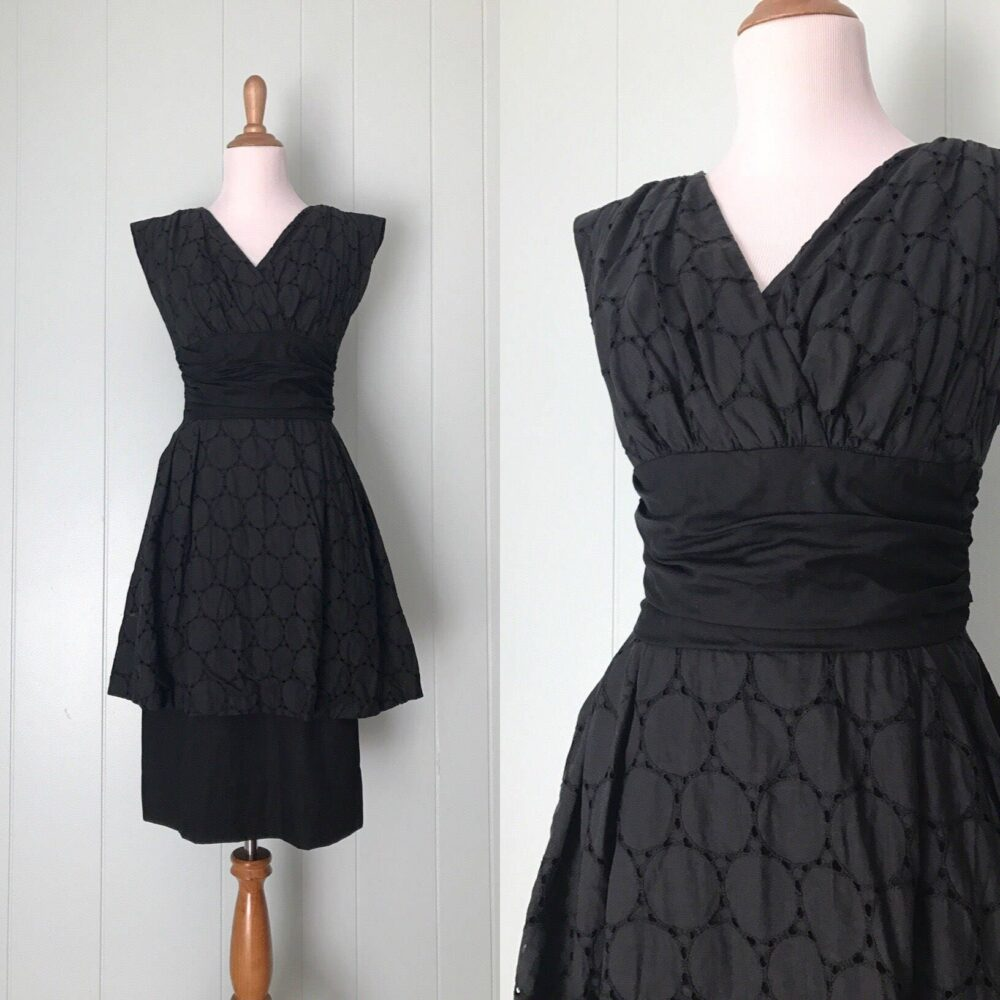 1950S Black Cotton Eyelet Wiggle Dress | 50S Polka Dot Cut Out Cocktail Party Vintage Nipped Waist Circles Sheath Size S