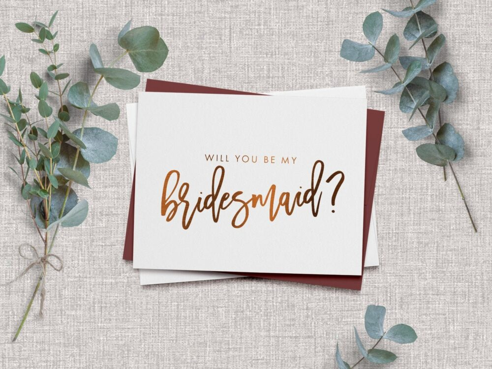 Will You Be My Bridesmaid Card - Wedding Party Proposal Cards Foil Zoe
