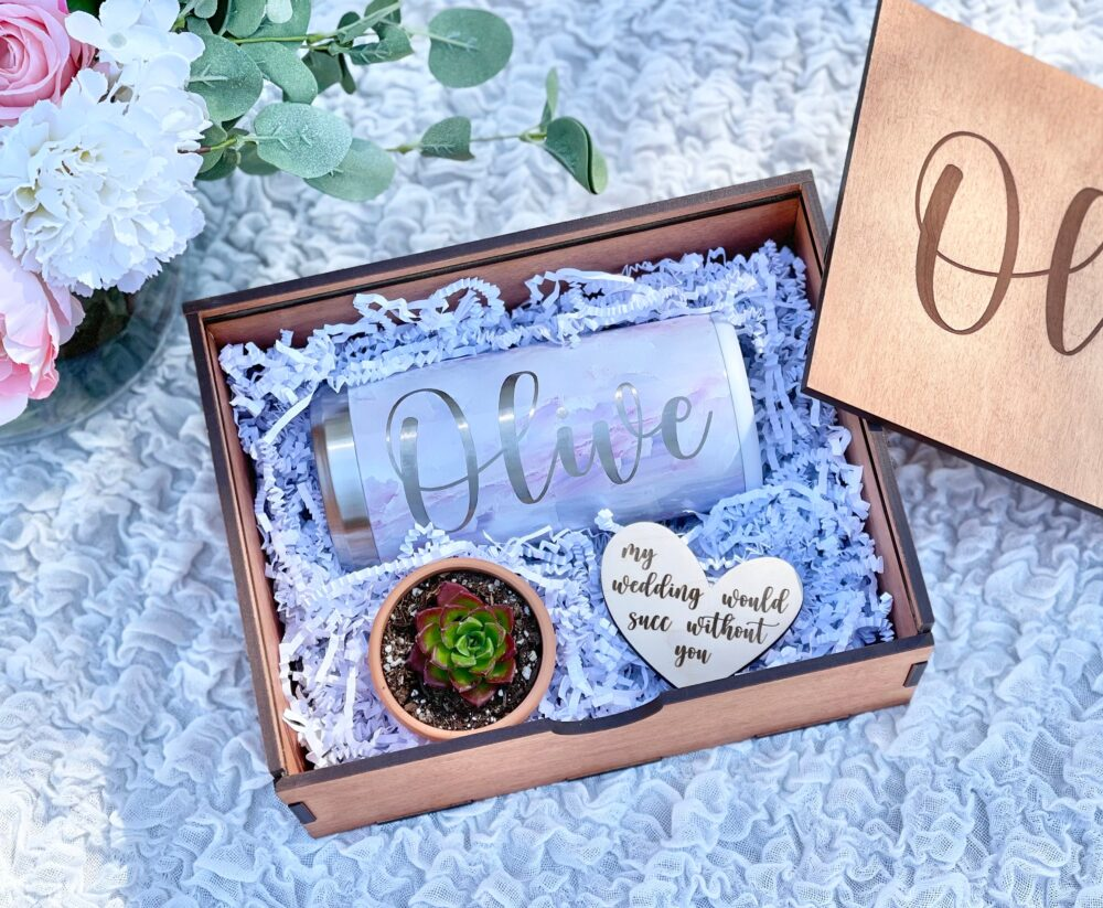 Personalized My Wedding Would Succ Without You Bridesmaid Gift Box Set, Will Be Wooden Box, Proposal Ideas