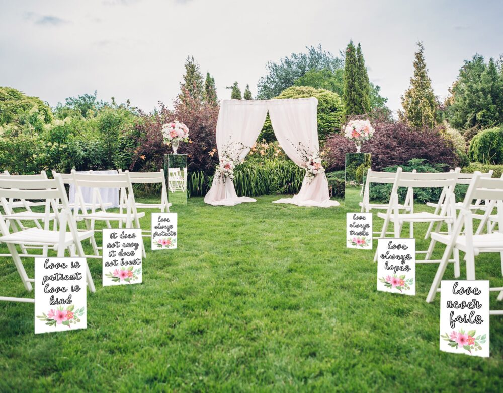 White Wedding Aisle Signs, 1 Corinthians 13, Love Is Patient Love Is Kind, Rustic Wedding, Ceremony Decor, White Wooden Signs