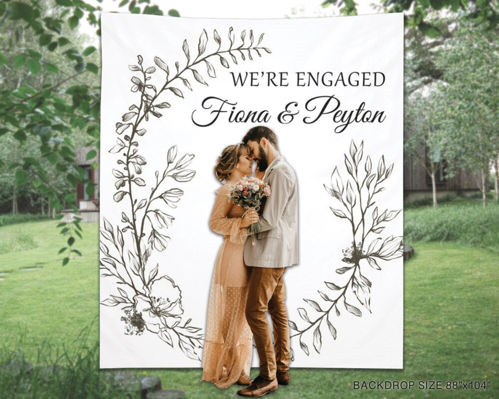 Engagement Party Decoration, Engagement Wall Sign, We're Engaged Photo Booth Backdrop, Rustic Couple Shower Backdrop - Epb19