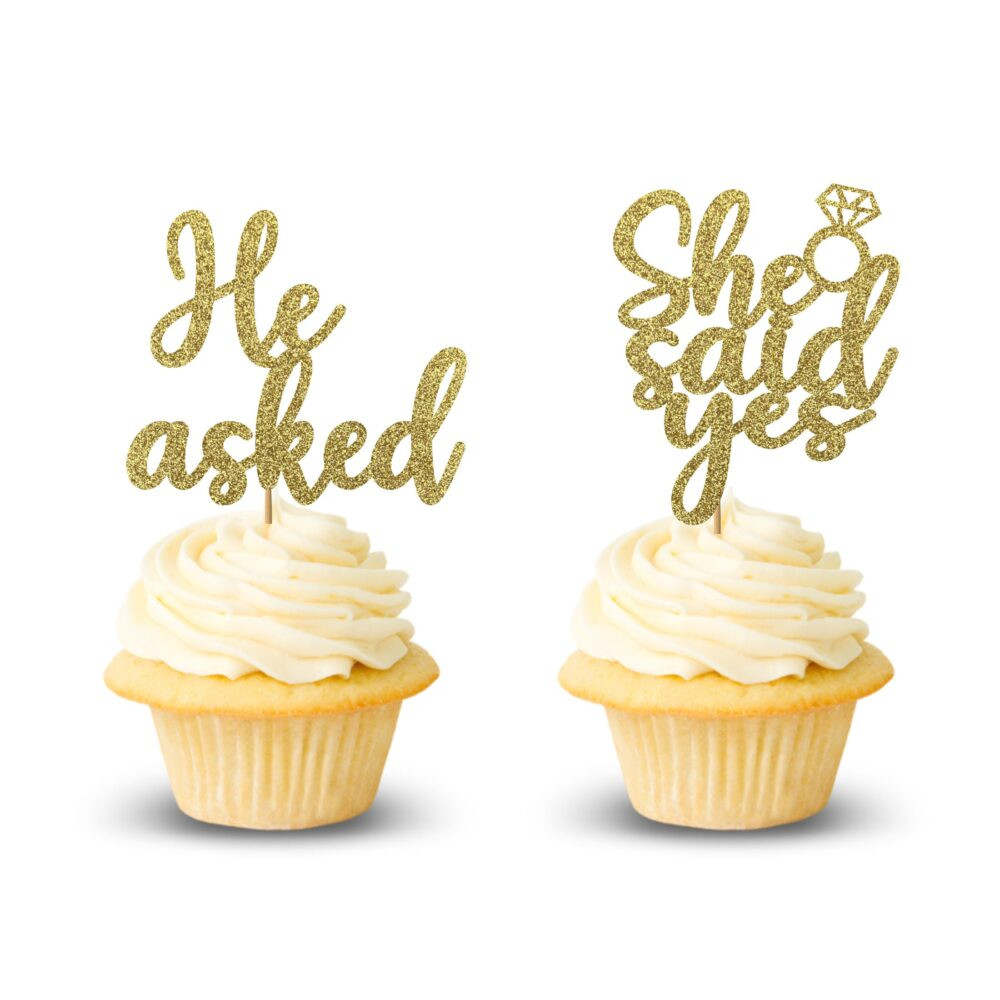 He Asked She Said Yes Cupcake Toppers, Engagement Party Decor
