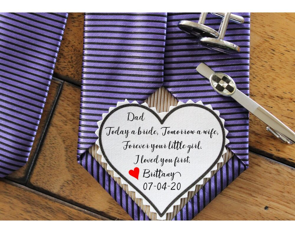 Father Of The Bride Gift, Printed Tie Patch, Label, Heart Shaped, Wedding Gift-[T5]