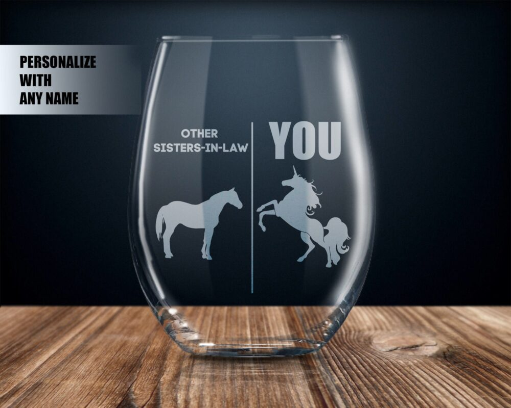 Personalized Sister in Law Gift Ideas, For Law, Sister-In-Law Wine Glass, Best Ever, Unicorn Cup