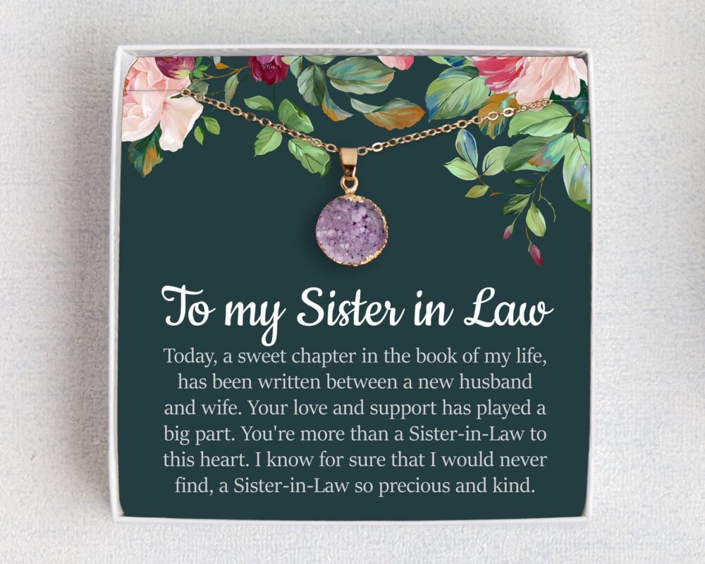 Sister in Law Necklace, Wedding Gifts For in Laws, Law, Birthstone, Personalized Gift Her, Laws Gifts