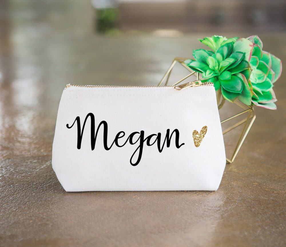 Personalized Makeup Bag Gift For Bridesmaids, Canvas Pouch W/Name & Glitter Heart Wedding Bridal Party Cosmetic | Item - cmg350