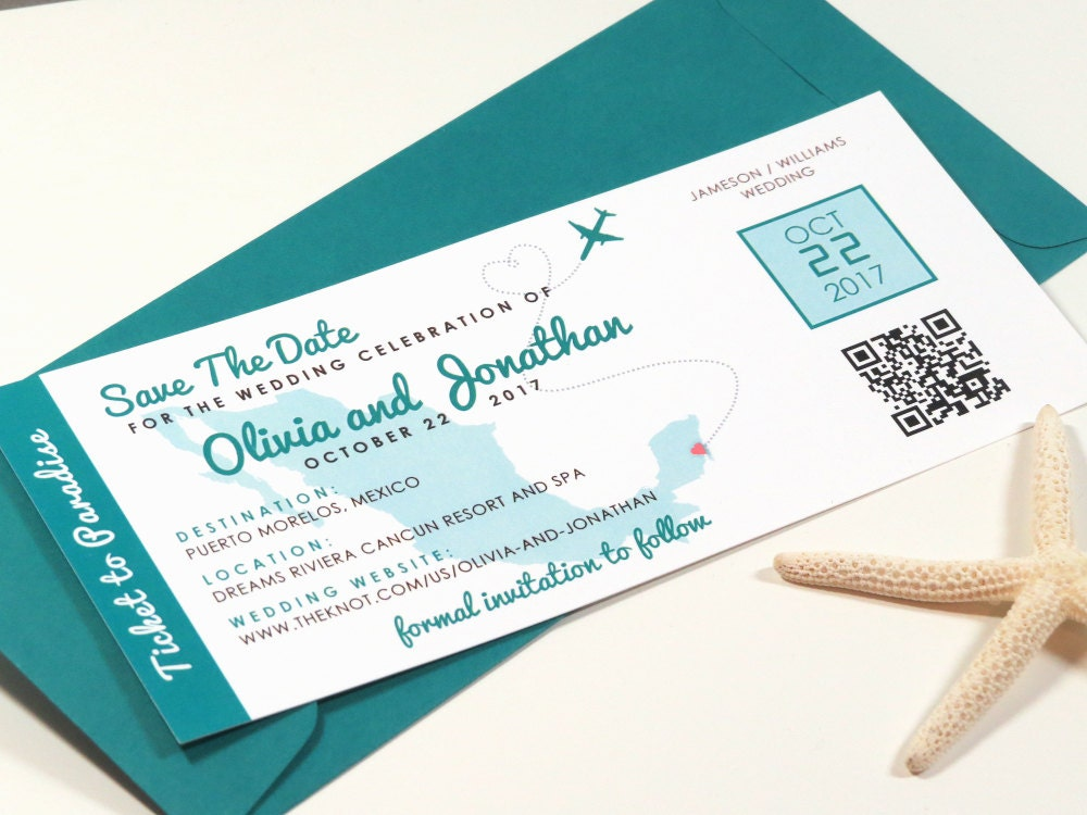 Destination Wedding Save The Date Boarding Pass Printed Passes & Envelopes Or Printable File