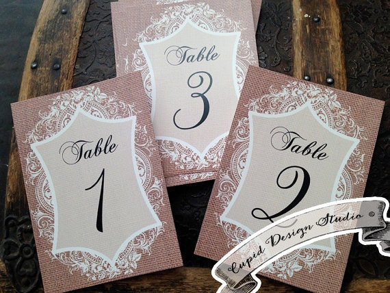 Burlap & Lace Table Numbers. Lace Table Number. Rustic Wedding Party Numbers Printed