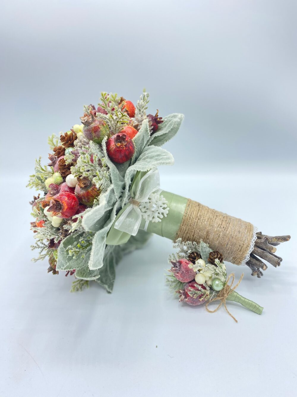 Sage Green Bouquet, Winter Wedding Bouquet , Bridal Rustic With Boutonniere