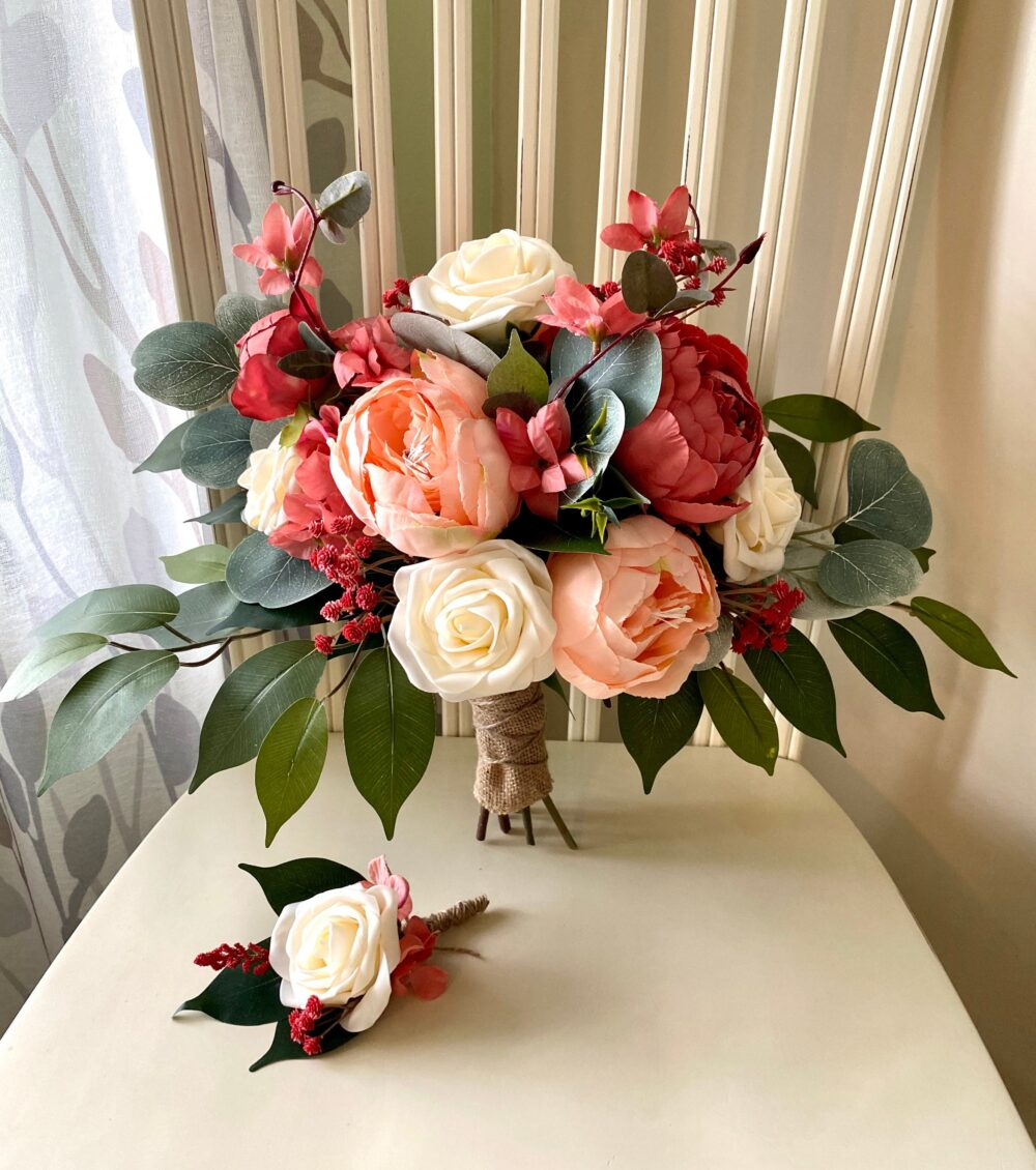 Fall Wedding Bouquet, Peach Bridal Bouquet, Peony Autumn Bridesmaid Flowers With Cream Roses