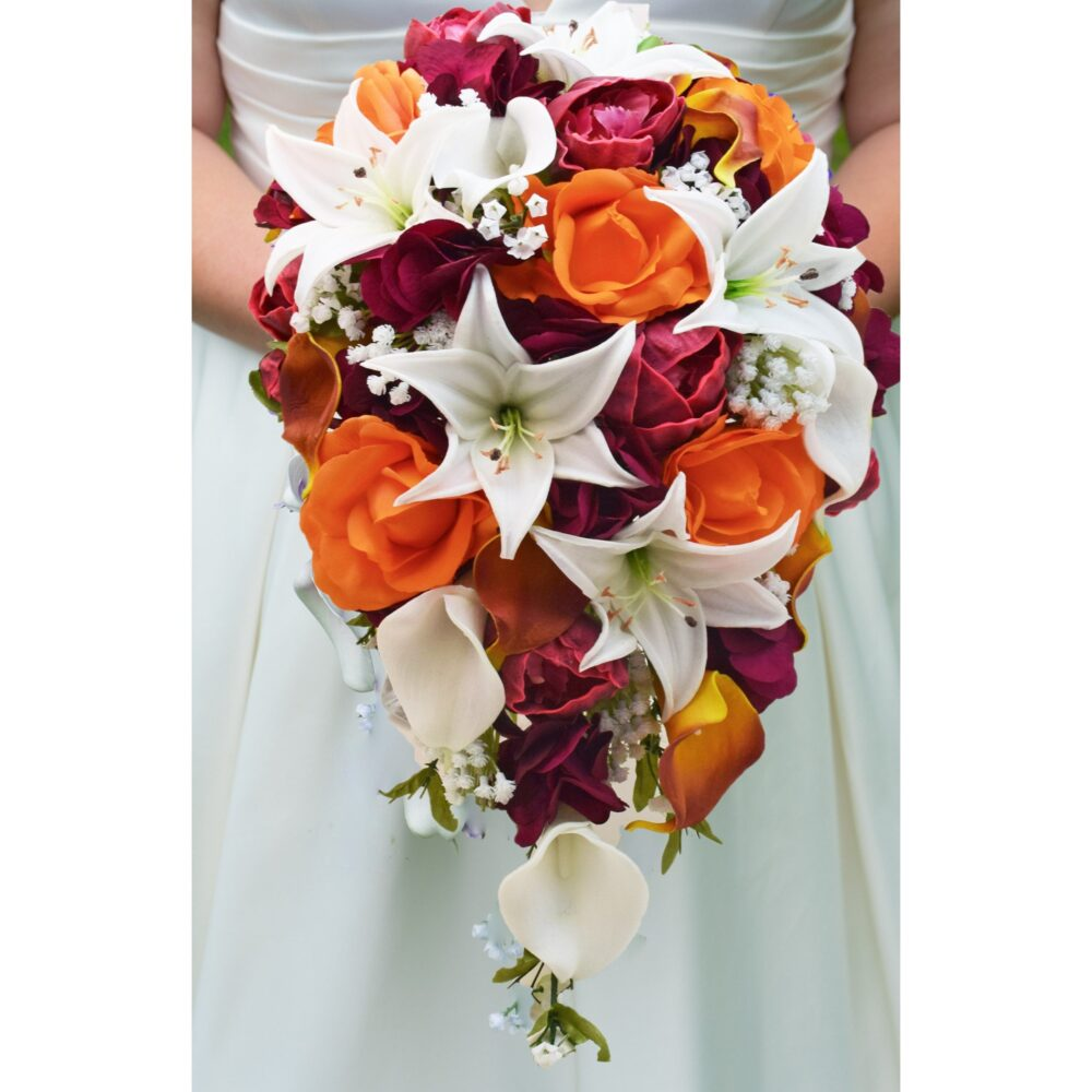 Cascade Fall Wedding Bouquet Orange Real Touch Roses Burgundy Peonies White Tiger Lilies - Add Groom Boutonniere Arch Flowers & More