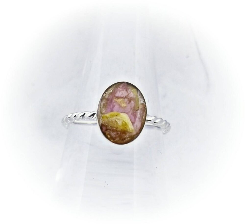 Dried Flower Ring Sterling Silver- Oval Rope Memorial - Pet Loss Jewelry Rope Band Urn Dad Mom