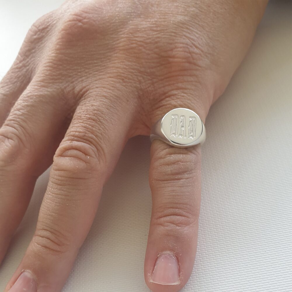 Dad Signet Ring, Personalized Ring For Men Engraved With Old English Font, Custom Men's Pinky 14mm Sterling Silver