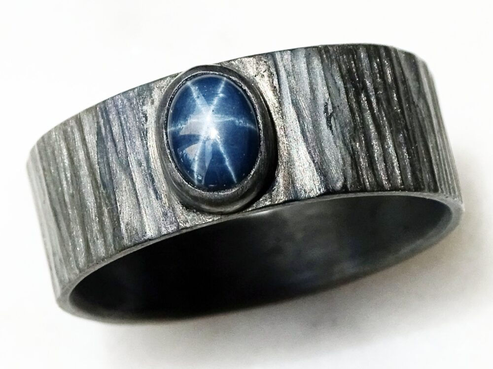 Blue Star Sapphire Ring, Ring Silver, Mens Promise Cool Silver Hammered, Unique