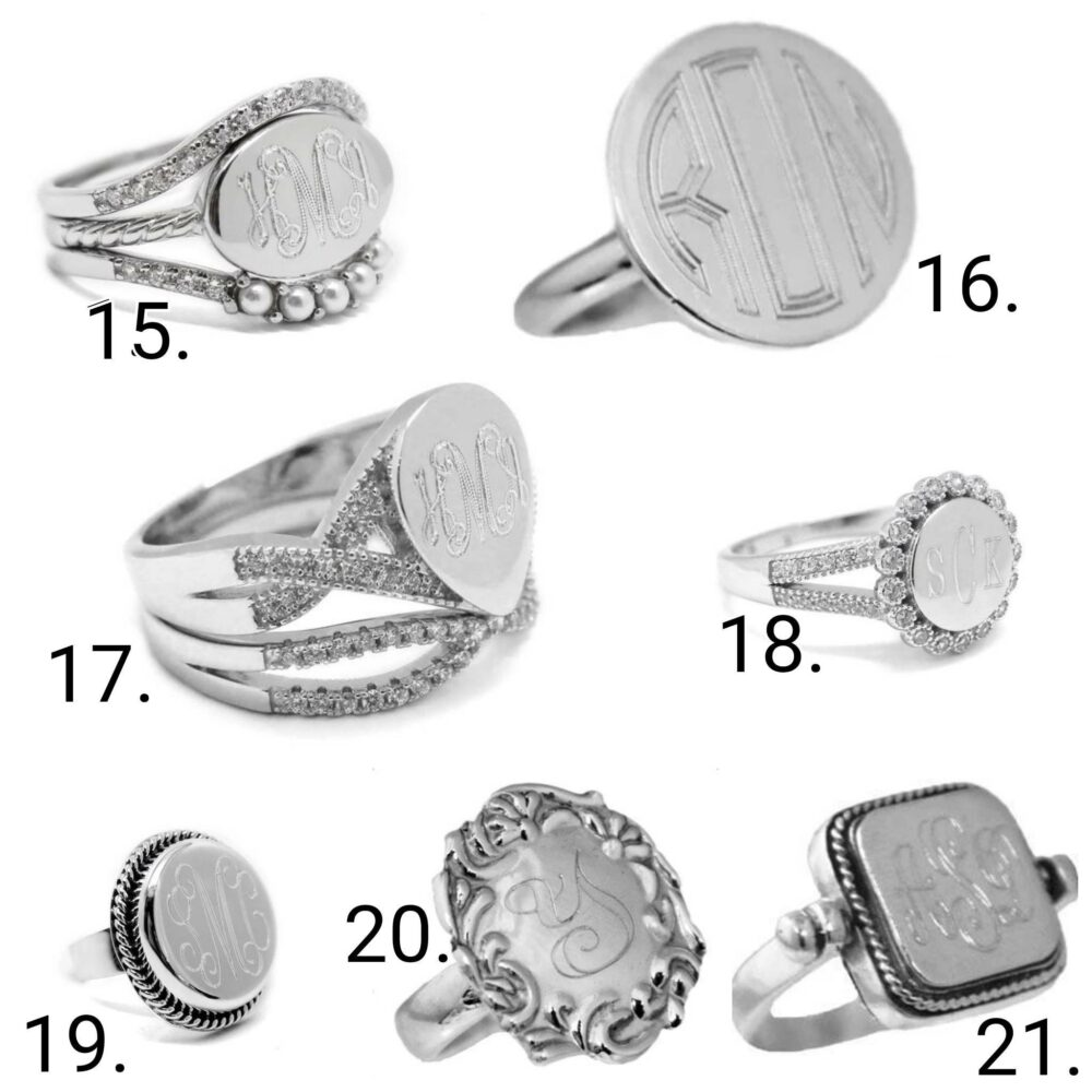 sterling Silver Monogram Ring/Custom Initial Engraved Ring Anniversary Personalized Gift