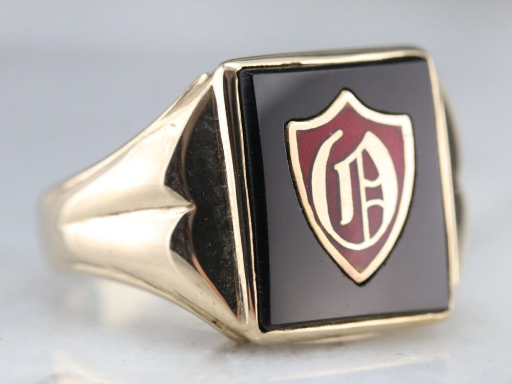 Vintage Men's Black Onyx Monogrammed Ring, Signet O Initial Jewelry, Anniversary Gift Ry6M1H02