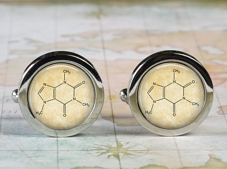 Caffeine Cufflinks, Molecule Gift For Chemical Engineer Or Chemist, Student Father's Day Dad Coffee Lover Cufflinks
