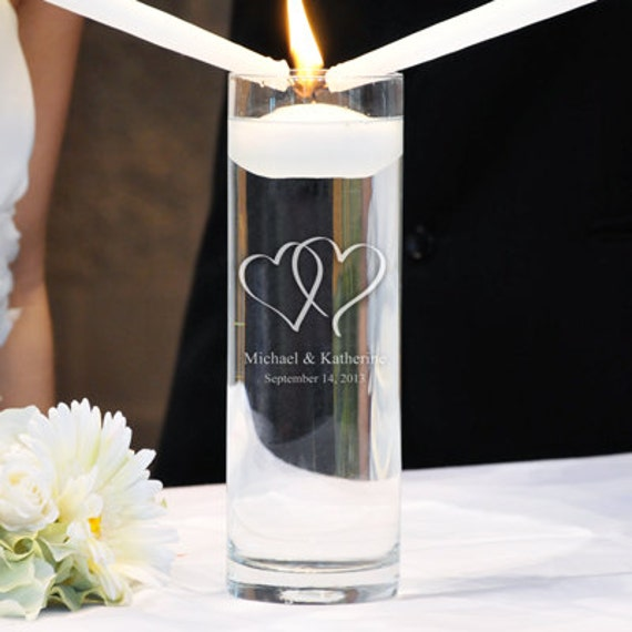 Personalized Cylinder Memorial Floating Candle Double Heart Logo