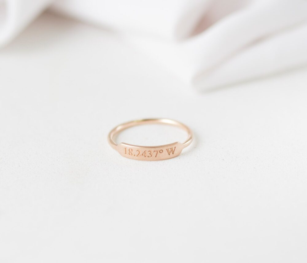 Dainty Engraved Name Ring - Stackable Rings Personalized Thin Band Bar Bridesmaid Gift
