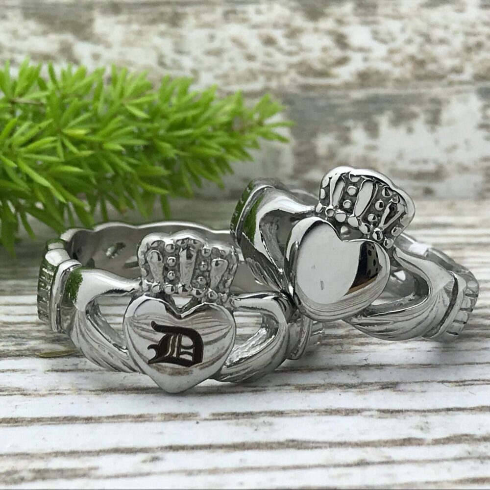 Claddagh Rings Stainless Steel Celtic Ring, Love Loyalty Friendship Band, Personalize Band Ring Cqssr561
