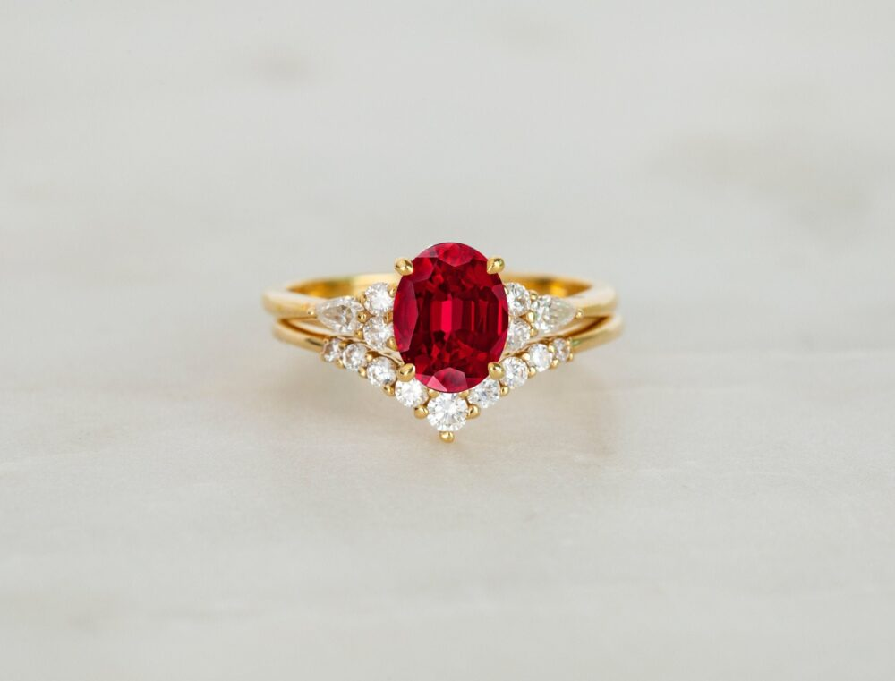 Oval Ruby Engagement Ring Set in Solid 14K Gold Red Gemstone Promise Unique Bridal For Women Birthstone