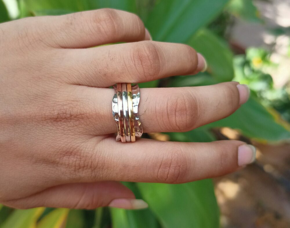 Hammered Band Ring, Three Spinning Silver Ring, Meditation Handmade Thumb Gift For Women