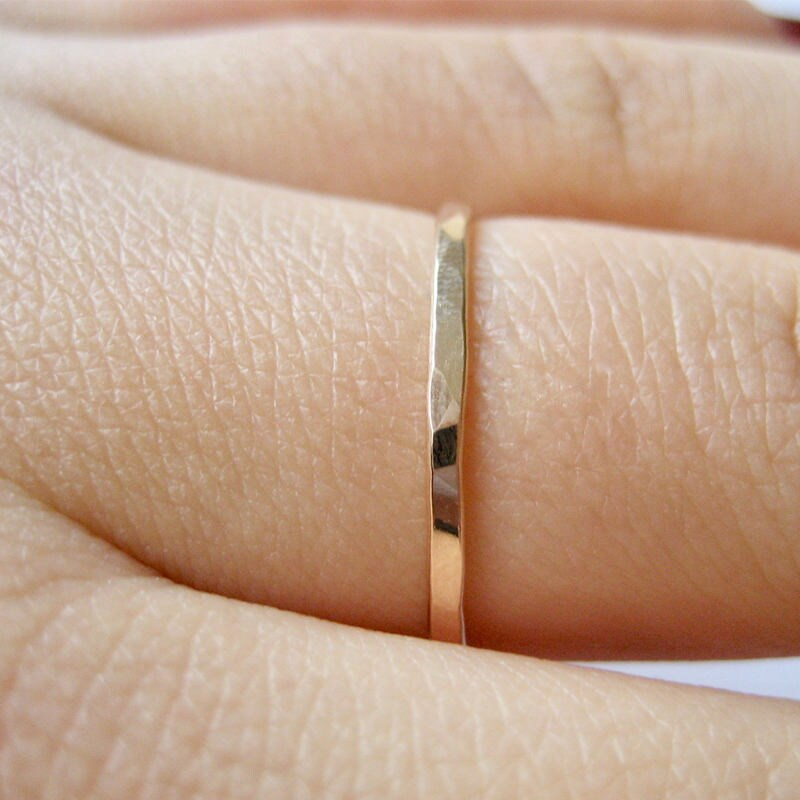 Dainty Thin Hammered Band Ring - 14K Gold Filled