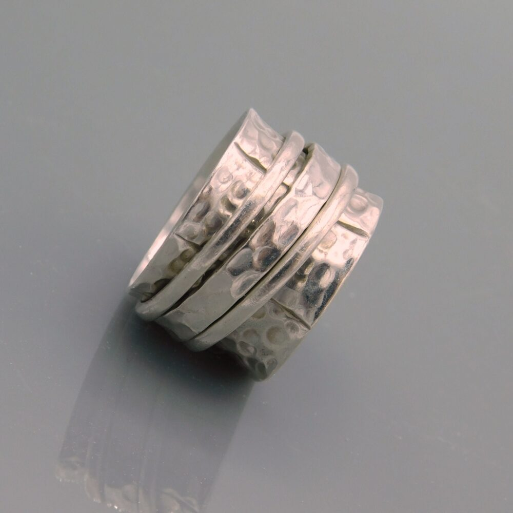 Wide Sterling Hammered Band, Ring, Ring With Spinners, Unique