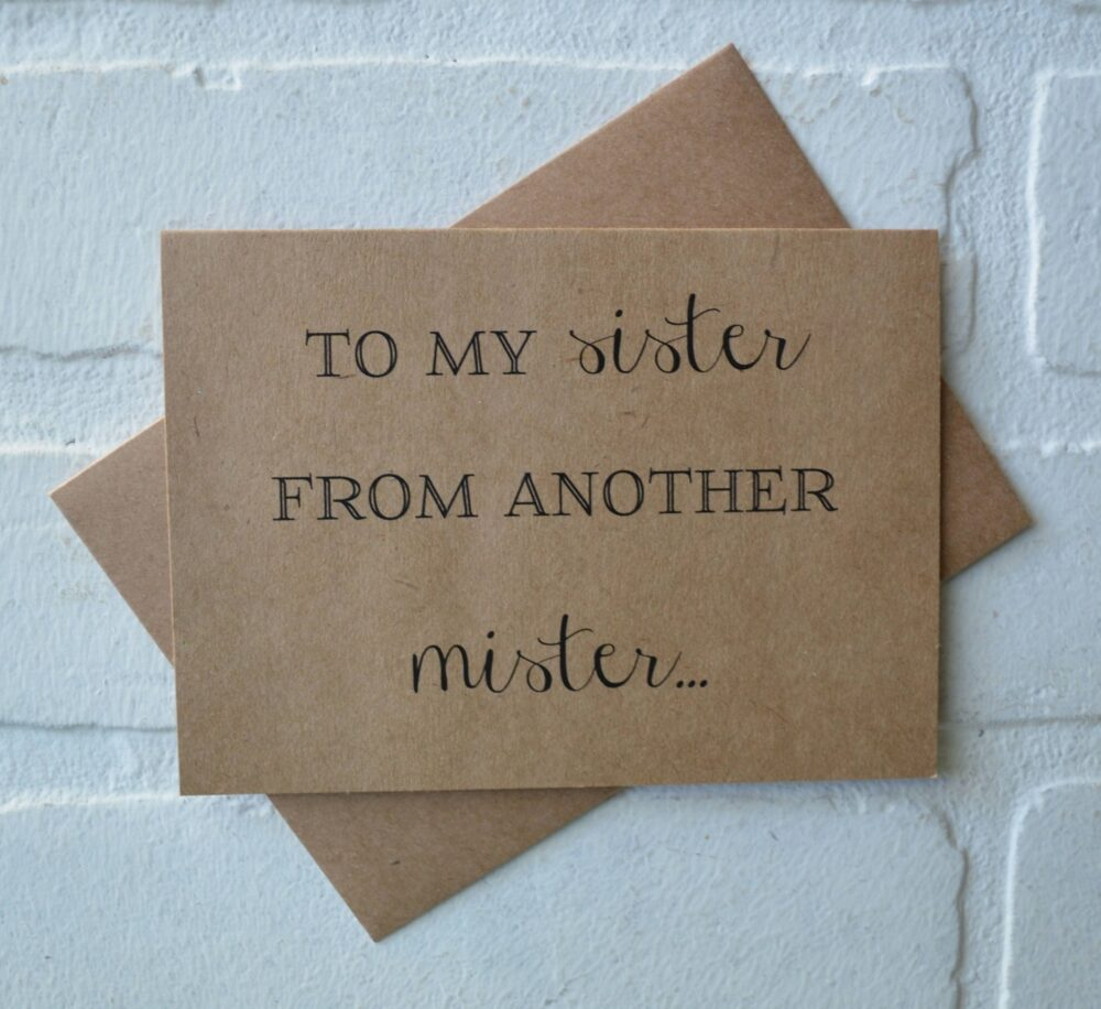 Sister From Another Mister Bridal Card Will You Be My Bridesmaid Cards Funny Bridesmaid Card Funny Invitation Sister