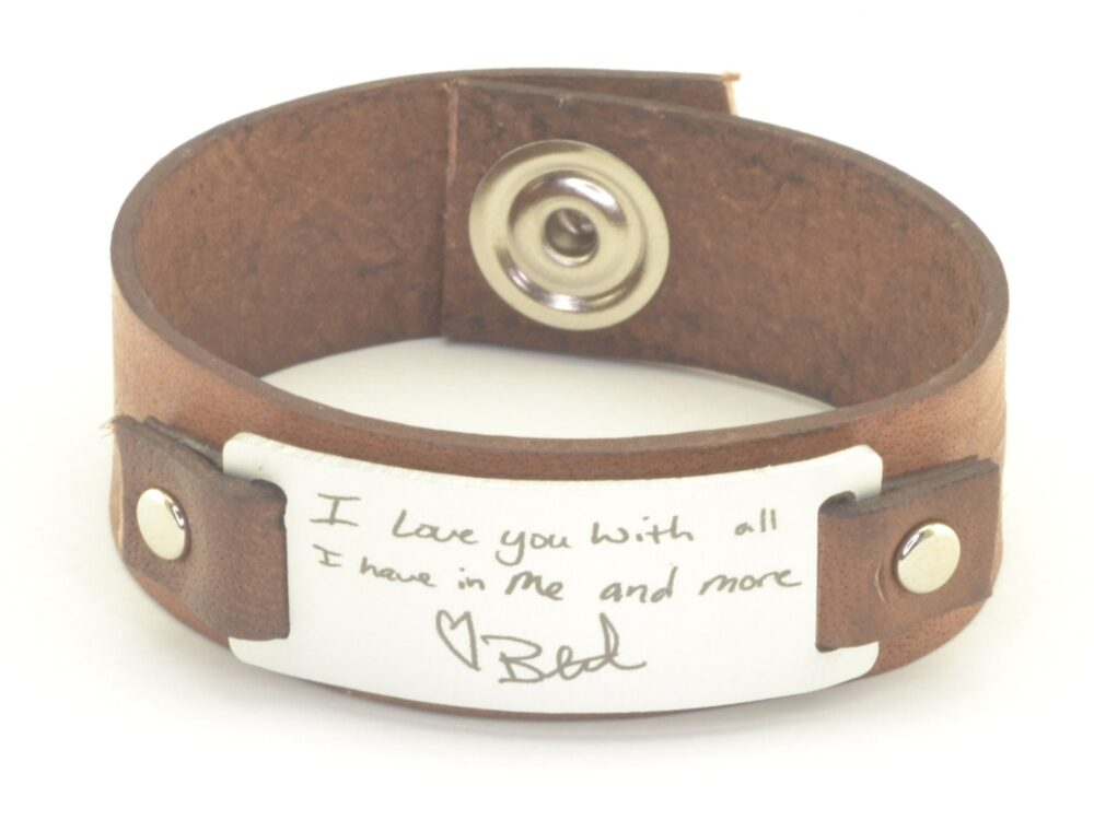 Personalized Gifts For Men, Actual Handwriting Gift Him, Men Handwritten Jewelry, Wide Leather Cuff, Signature Bracelet Memorial