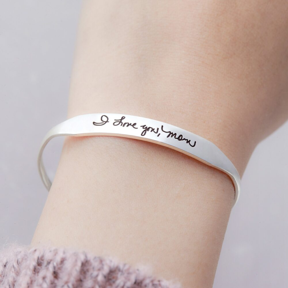 sterling Silver Handwriting Bracelet, Signature Bracelet, Mourning Memorial Jewelry Handwriting, Loss Of Mother Gift, Remember Mom