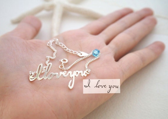 Signature Bracelet With Birthstone - Handwriting Memorial Personalized Jewelry Bridesmaid Gift Christmas