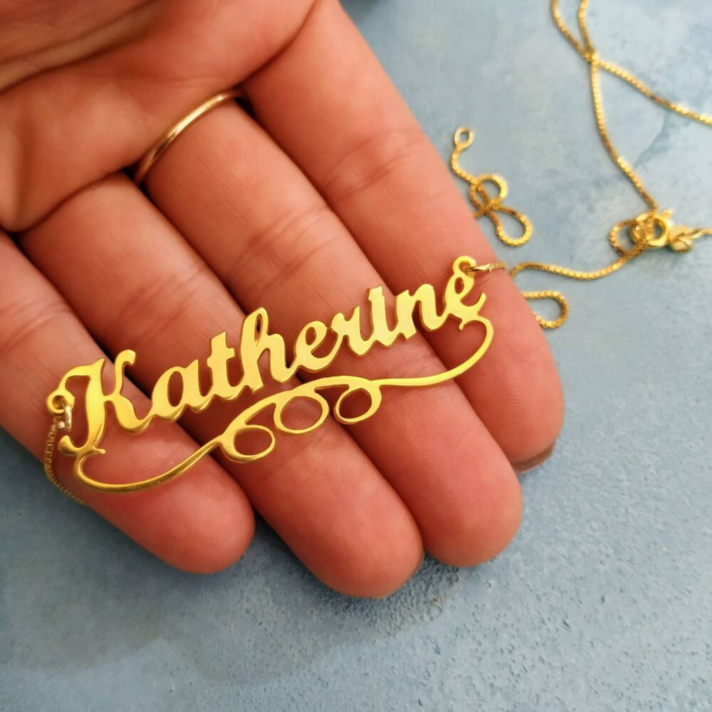 14K Solid Gold - Personalized Name Nameplate Necklace Pendant Big Jewelry Script Gift For Daughter Katherine