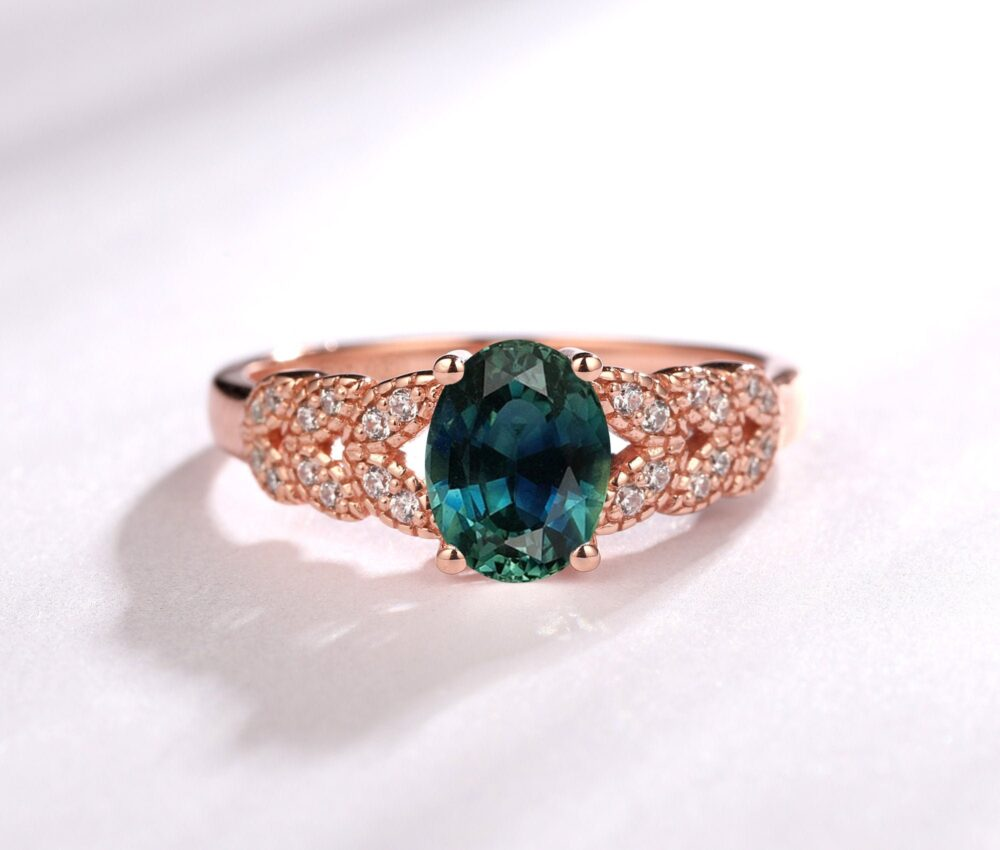 Antique Band Ring/ Oval Cut 6x8mm 1.5Ct Teal Sapphire Wedding Art Deco Engagement Rose Gold Blue Green Gemstone Ring