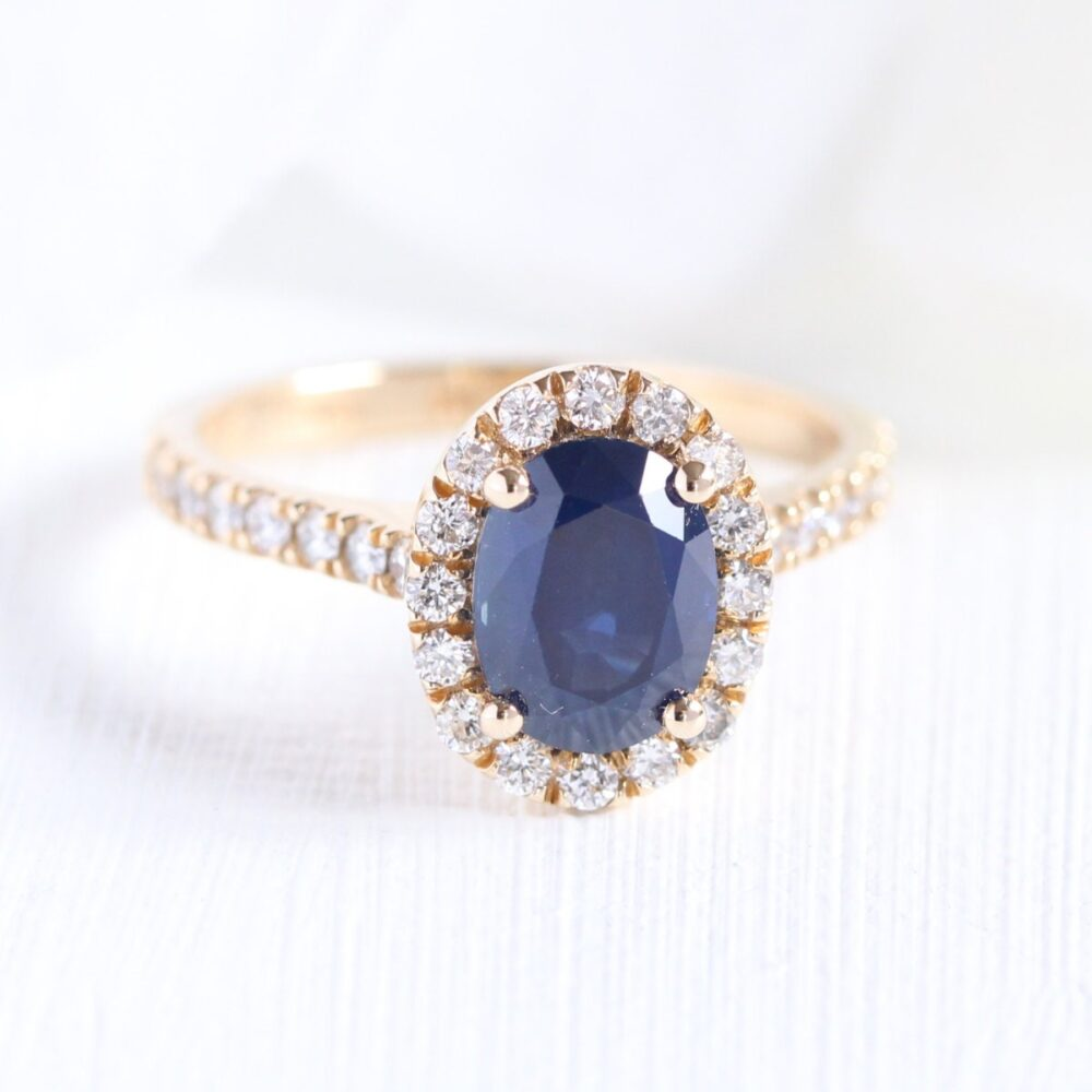 Halo Diamond Blue Sapphire Engagement Ring 8x6mm Oval Cut Gemstone in 14K Yellow Gold   Bridal Wedding Set Available