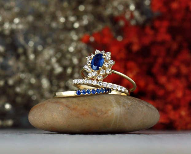 Set Blue Sapphire Engagement Ring With Matching Diamond & Bands   Halo Solid 14K Gold Fine Jewelry Free Shipping