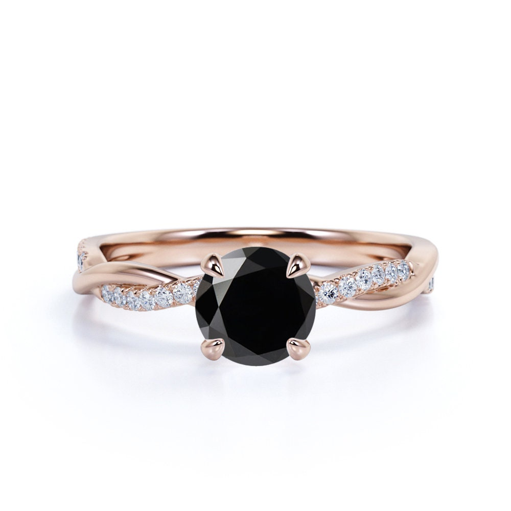 Eternity Black Diamond Engagement Ring in 10K Rose Gold, Twist Band Promise Ring, Round Wedding Anniversary Gift For Her