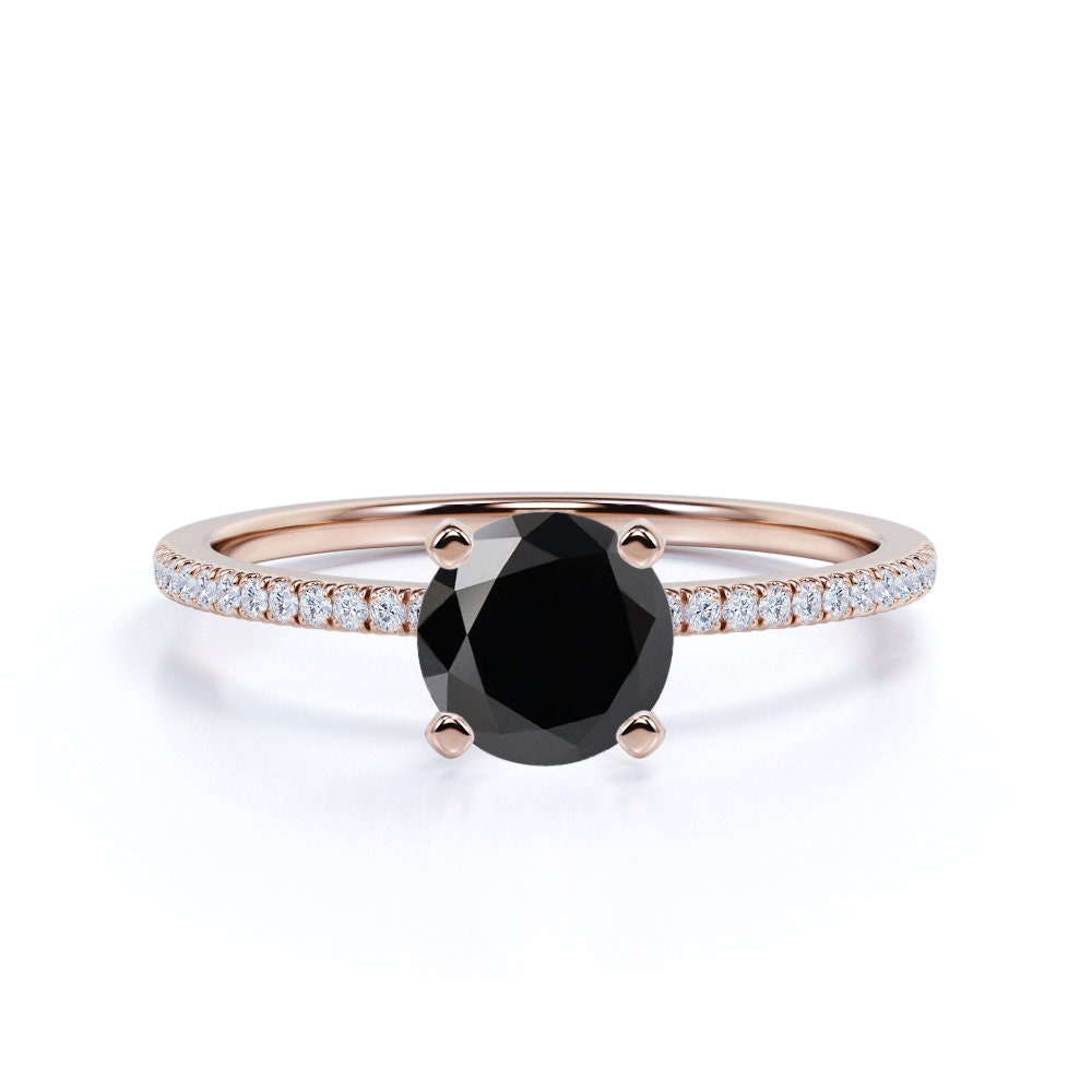 Classic Round Black Diamond Engagement Ring in 14K Rose Gold, 1.25 Carat Wedding Ring, Silver Holiday Gift For Her