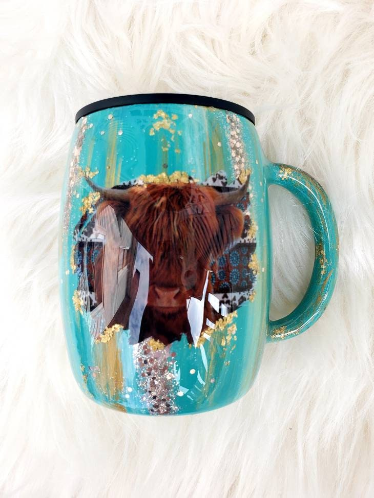Patina Tumbler, Highland Cow Hide Your Crazy Glitter Western Personalized Custom Tumbler