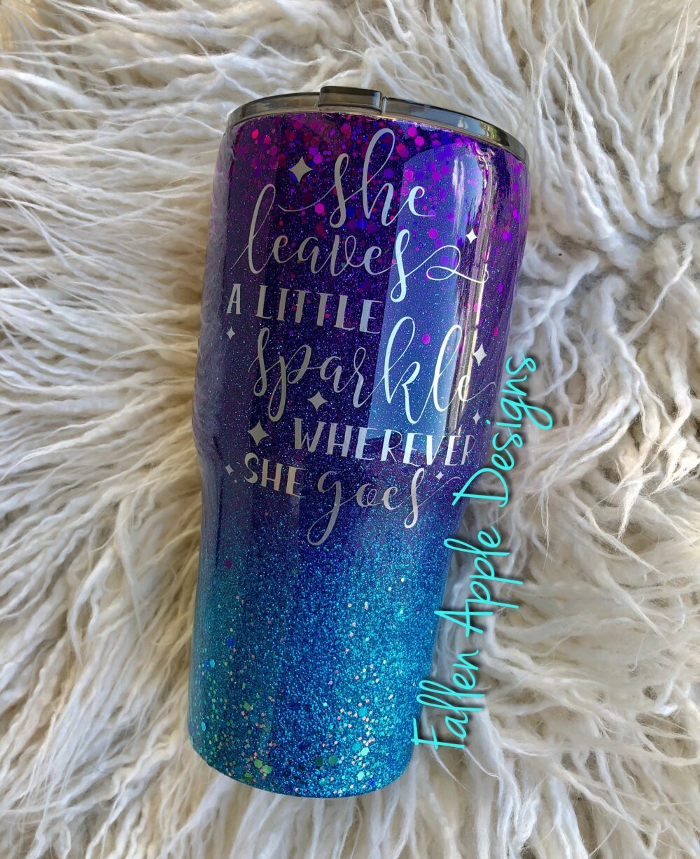 Purple To Turquoise Glitter Custom Personalized Tumbler - Birthday Gift Granddaughter For Her