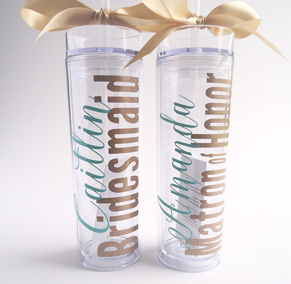 7 Personalized Bridesmaid Skinny Tumbler With Glitter Vinyl Gift Set Wedding Party Acrylic Cups
