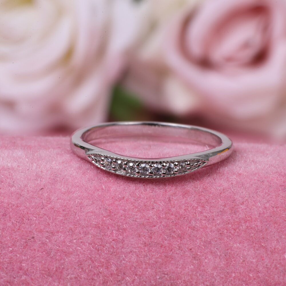 Diamond Wedding Band/Curved Band/14K Solid Gold Band/Milgrain Ring/Matching Band/Diamond Band/Matching Ring
