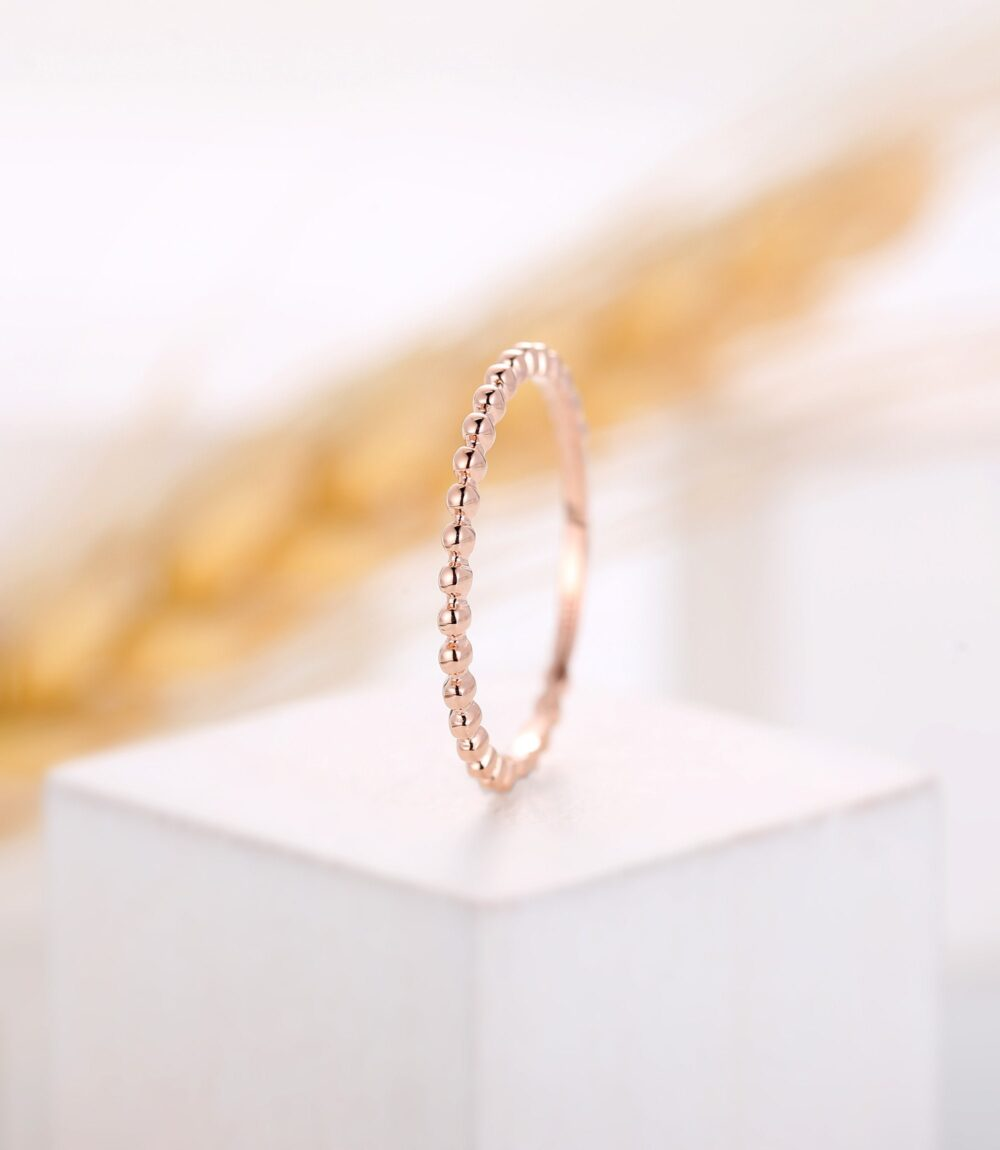 Vintage Plain Gold Wedding Band, Unique Engagement Band, Delicate Unique Band, Stacking Band Matching Rose Gold Band, Anniversary Ring