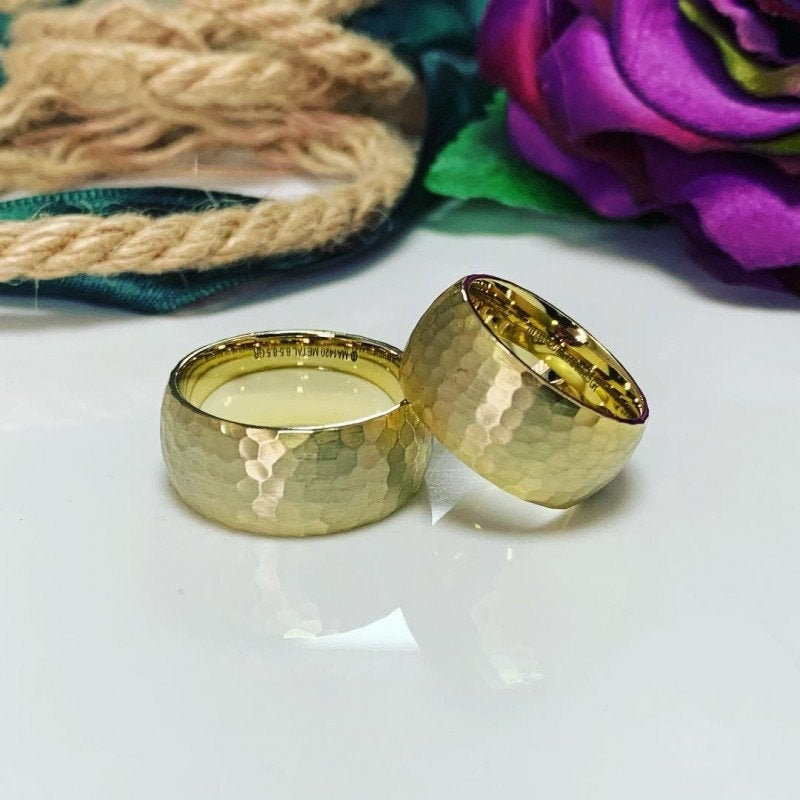 Handmade Wedding Ring, Bands Set, Match Rings , Wedding Band Set 10 Mm His & Hers, Ring Gold